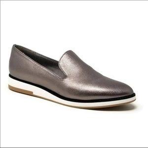 Com + Sens Silver Metallic Leather Loafers Sz-6.5